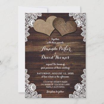 rustic wood burlap and lace wedding invitations