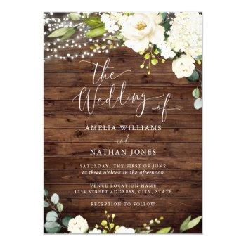 rustic wood champagne floral lights wedding invitation