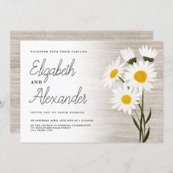 rustic wood country daisy flowers backyard wedding invitation