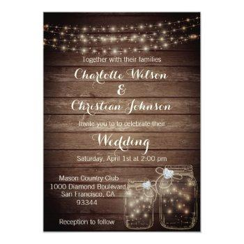rustic wood country mason jar lights wedding invitation