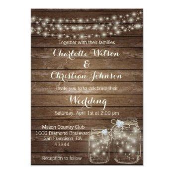 rustic wood country mason jar lights wedding invitation