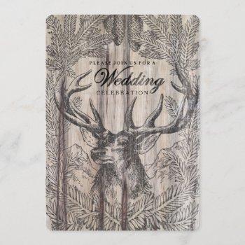rustic wood | deer wedding invitation