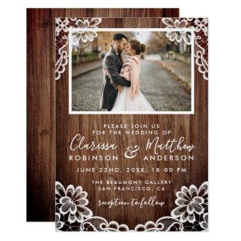 rustic wood & elegant lace wedding photo invitation