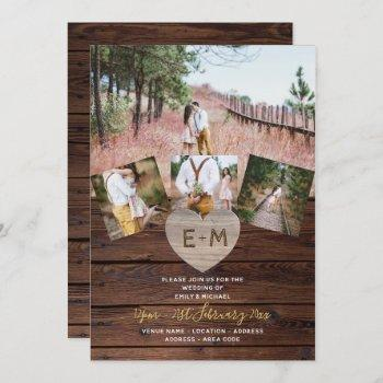 rustic wood engraved heart photo collage weddings invitation