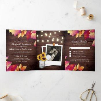 rustic wood fall autumn leaves all in one wedding tri-fold invitation