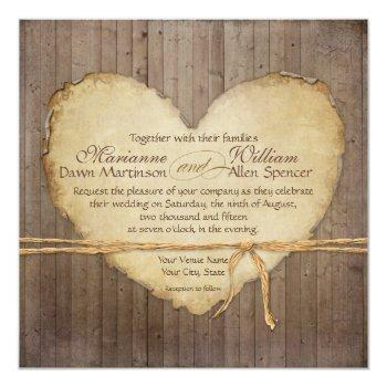 rustic wood fence boards heart antiqued parchment invitation