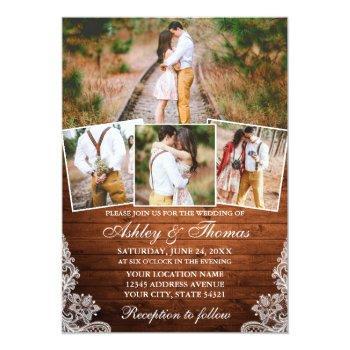 rustic wood lace 4 photo wedding invitation