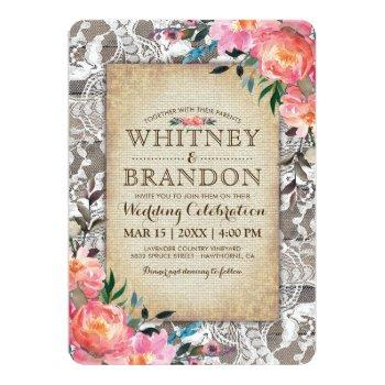 rustic wood lace floral vintage burlap wedding invitation