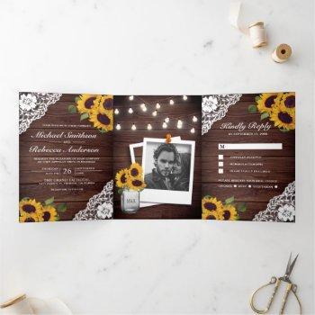 rustic wood lace sunflower string lights wedding tri-fold invitation
