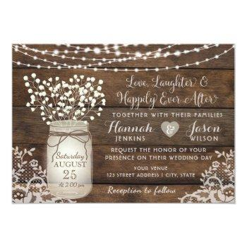 rustic wood lace wedding invitation, mason jar invitation