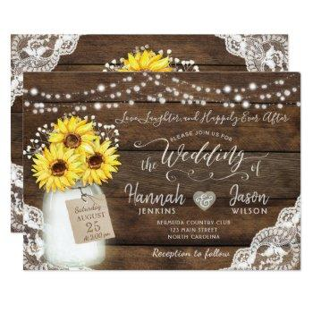 rustic wood lace wedding invitation, sunflower jar invitation