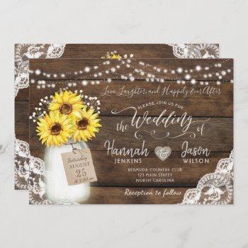 rustic wood lace wedding invitation, sunflower jar invitation