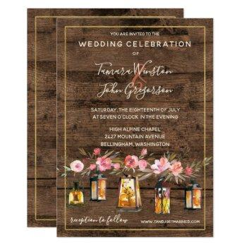 rustic wood lanterns country coral floral wedding invitation