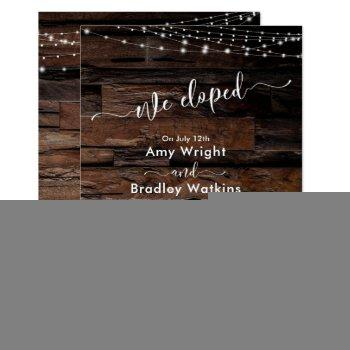 rustic wood light strings we eloped reception-only invitation