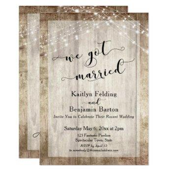 rustic wood & lights, we got married, reception invitation