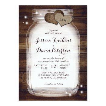 rustic wood mason jar wedding invitations