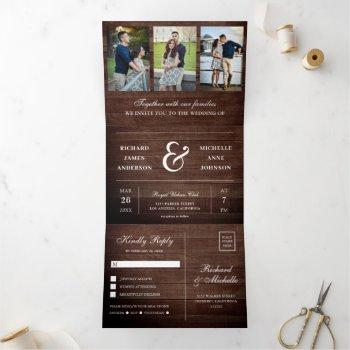 rustic wood minimal 3 in 1 photo collage wedding tri-fold invitation