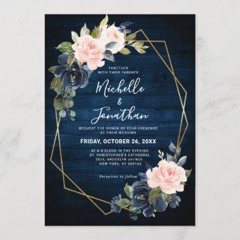rustic wood navy blue blush pink geometric wedding invitation