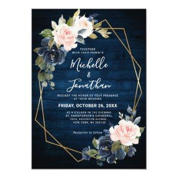 Small Rustic Wood Navy Blue Blush Pink Geometric Wedding Front View
