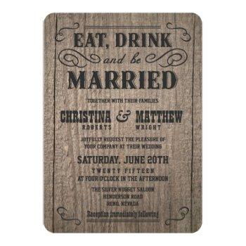 rustic wood old western wedding invitations
