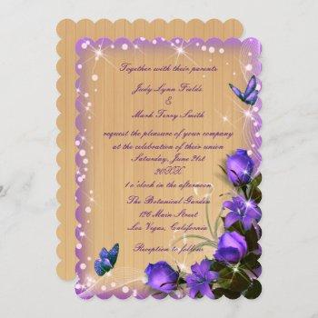 rustic wood purple floral butterfly wedding invitation