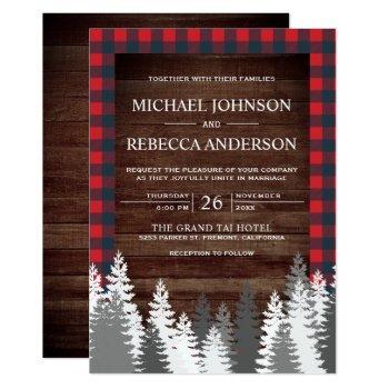rustic wood red buffalo plaid white pine wedding invitation