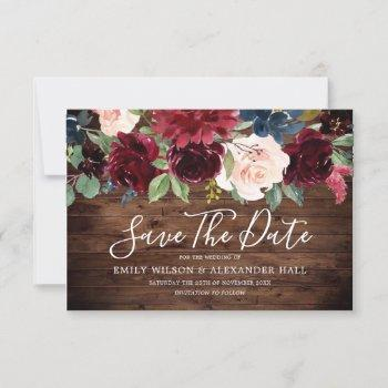 rustic wood red wine burgundy flowers wedding save the date