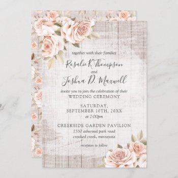 rustic wood & romantic roses shabby chic wedding invitation