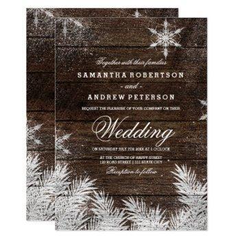 rustic wood snowflake pine winter wedding invitation
