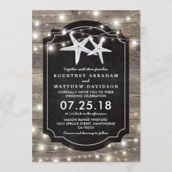 rustic wood starfish wedding   string of lights invitation