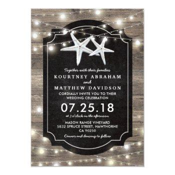 rustic wood starfish wedding | string of lights invitation