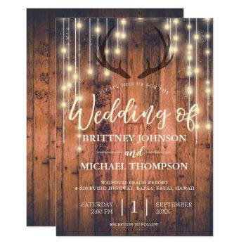 rustic wood string lights antler wedding invitation