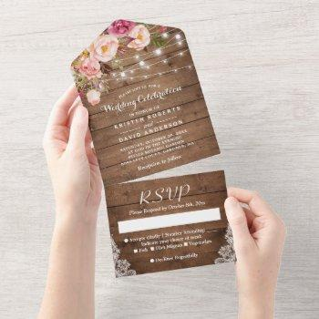 rustic wood string lights blush floral wedding all in one invitation