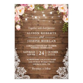 Small Rustic Wood String Lights Lace Floral Farm Wedding Invitation Front View