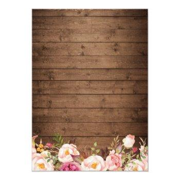Small Rustic Wood String Lights Lace Floral Farm Wedding Invitation Back View