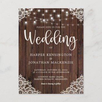 rustic wood string lights lace wedding invitation postcard