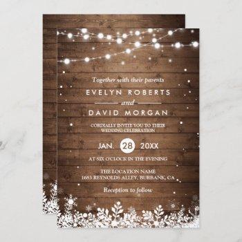 rustic wood string lights snowflake winter wedding invitation