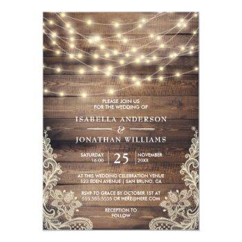 Small Rustic Wood & String Lights | Vintage Lace Wedding Invitation Front View