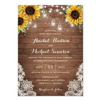 rustic wood sunflower string lights lace mason jar invitation