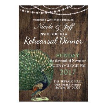rustic wood teal feather peacock wedding invitation