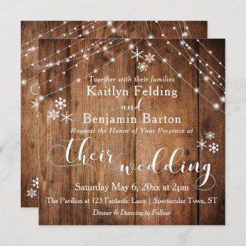 rustic wood w/ white lights & snowflakes wedding invitation