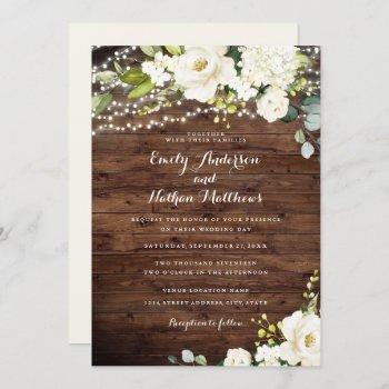 rustic wood white champagne floral lights wedding invitation