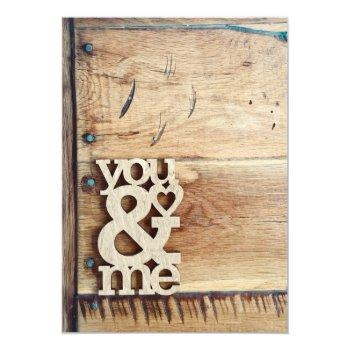 rustic wood you & me wedding invitations