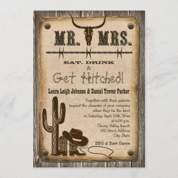 rustic wooden western style wedding invitation
