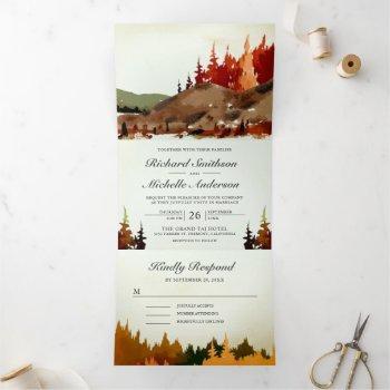 rustic woodland autumn forest mountain wedding tri-fold invitation