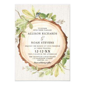 rustic woodland outdoor forest theme wedding invitation