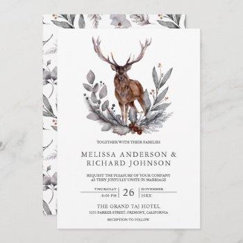 rustic woodland watercolor forest deer wedding invitation