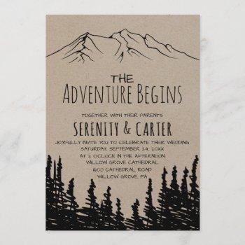 rustic woodsy mountain adventure begins wedding invitation