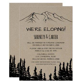 rustic woodsy mountain elopement reception invitation