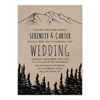 rustic woodsy mountain wedding invitation